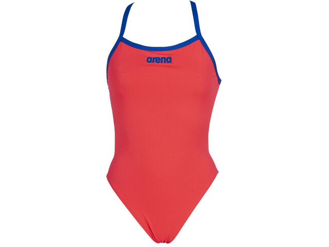 arena Solid Light Tech High One Piece Swimsuit Dames, fluo red/neon blue
